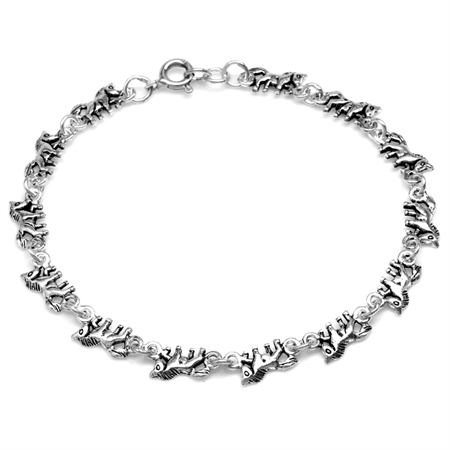 925 Sterling Silver Horse Casual Teens/Girls Bracelet 7.5 Inch.