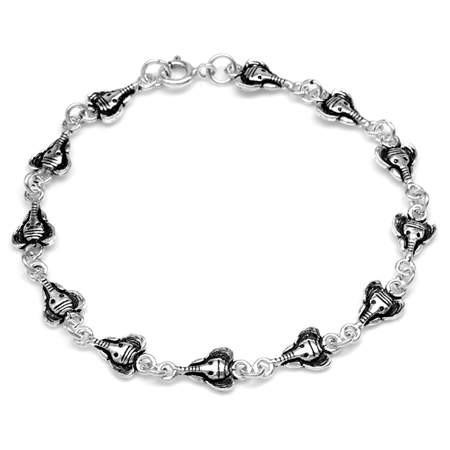 925 Sterling Silver Elephant Casual Teens/Girls Bracelet 7.5 Inch.