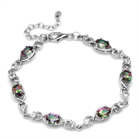 5.34ct Mystic Fire Topaz White Gold Plated 925 Sterling Silver Swirl&Spiral 7-8.5 Inch Adj. Bracelet