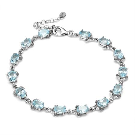 12.88ct. Genuine Blue Topaz White Gold Plated 925 Sterling Silver 7.75-8-9.25 Inch Adj. Bracelet