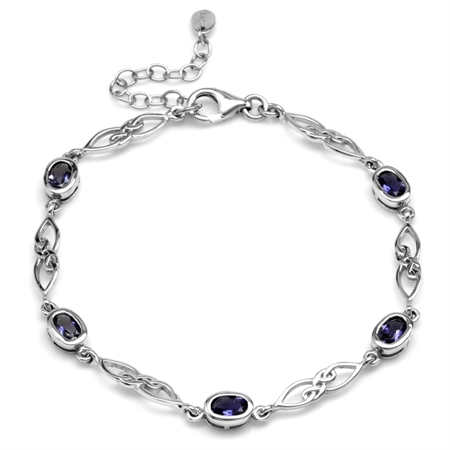 1.7ct. Natural Iolite White Gold Plated 925 Sterling Silver Celtic Knot 7.25-8.75 Inch Adj. Bracelet