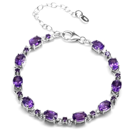 7.8ct. Natural African Amethyst White Gold Plated 925 Sterling Silver 6.5-8 Inch Adjustable Bracelet