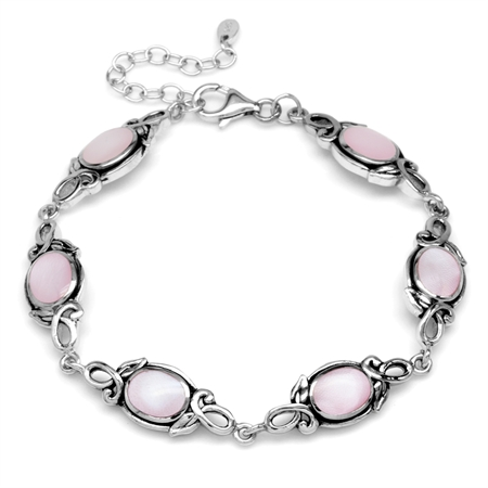 8x6MM Oval Pink Mother Of Pearl 925 Sterling Silver Leaf Vintage Inspired 7-8.5 Inch Adj. Bracelet