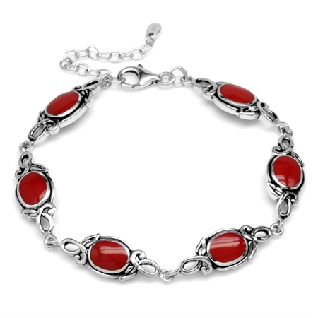 8x6MM Oval Created Red Coral 925 Sterling Silver Leaf Vintage Inspired 7-8.5 Inch Adj. Bracelet