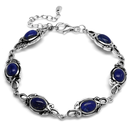 8x6MM Oval Genuine Blue Lapis 925 Sterling Silver Leaf Vintage Inspired 7-8.5 Inch Adj. Bracelet