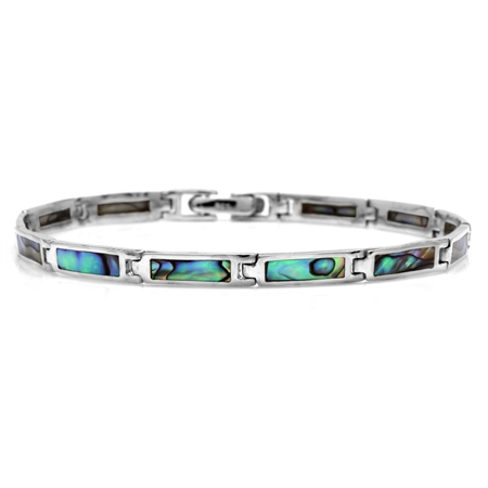 Rectangular Shape Abalone/Paua Shell Inlay 925 Sterling Silver Link Bracelet