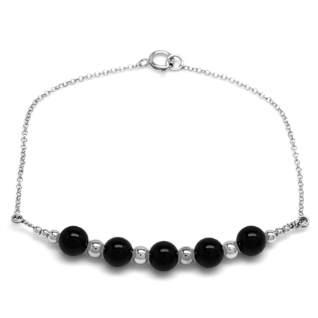 5-Stone 6MM Created Black Onyx Sphere Ball 925 Sterling Silver Chain Bracelet 7 Inch.