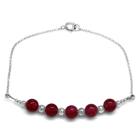 5-Stone 6MM Red Agate Sphere Ball 925 Sterling Silver Chain Bracelet 7 Inch.