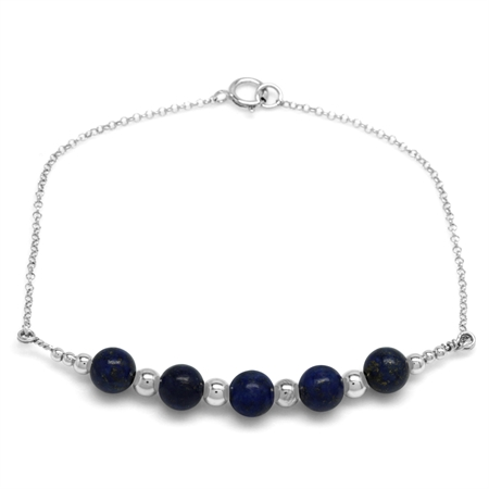 5-Stone 6MM Created Blue Lapis Sphere Ball 925 Sterling Silver Chain Bracelet 7 Inch.