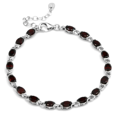 9.18ct. Natural Garnet White Gold Plated 925 Sterling Silver Tennis 7-8.5 Inch Adjustable Bracelet