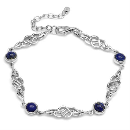 Genuine Blue Lapis 925 Sterling Silver Celtic Knot 7-8.5 Inch Adjustable Bracelet