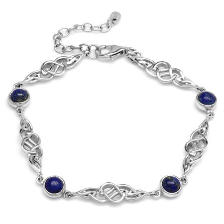 Genuine Blue Lapis 925 Sterling Silver Celtic Knot 7-8.5 Inch Adjustable Bracelet