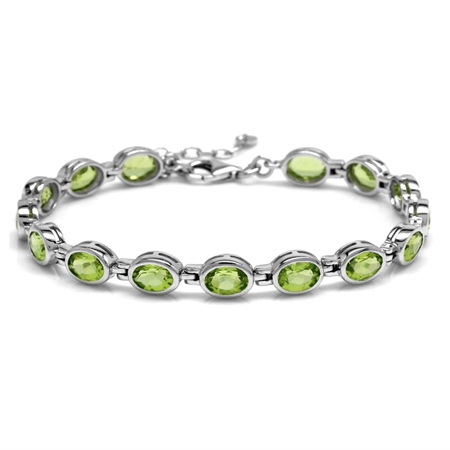"12.15ct. Natural Peridot White Gold Plated 925 Sterling Silver Bezel Set 7-8.5"" Adj. Tennis Bracelet"