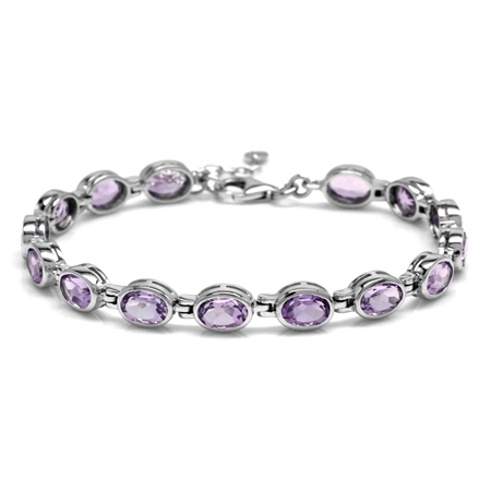 "11.1ct. Natural Amethyst White Gold Plated 925 Sterling Silver Bezel Set 7-8.5"" Adj. Tennis Bracelet"