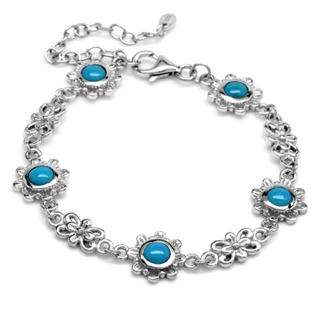 5MM Genuine Round Shape Arizona Turquoise 925 Sterling Silver Flower 6-7-8 Inch Adjustable Bracelet