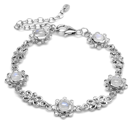5MM Natural Round Shape Moonstone 925 Sterling Silver Flower 6-7-8 Inch Adjustable Bracelet