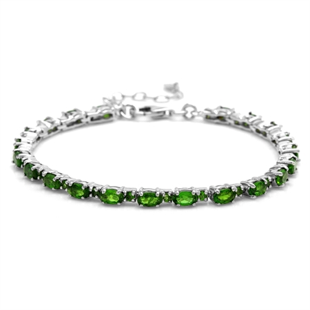Genuine Chrome Diopside 925 Sterling Silver Classic Tennis Bracelet