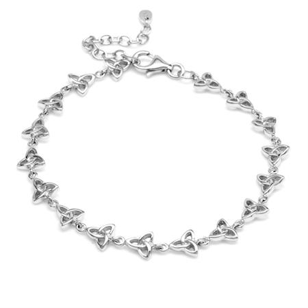 925 Sterling Silver Triquetra Celtic Knot 7.25 Plus 1.5 Inch Extension Bracelet
