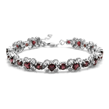 9 Ctw Natural Rhodolite Garnet 925 Sterling Silver 6.75 to 8.25 Inch Adjustable Bracelet