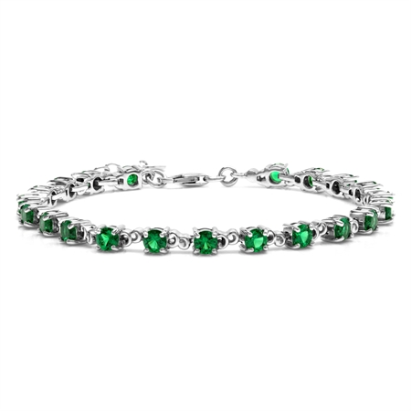 5 Ct Nano Green Emerald 925 Sterling Silver Victorian Style 7 plus 1.5 Inch Extension Bracelet