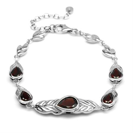 Natural Red Garnet Stone 925 Sterling Silver Graduate Leaf Link Bracelet