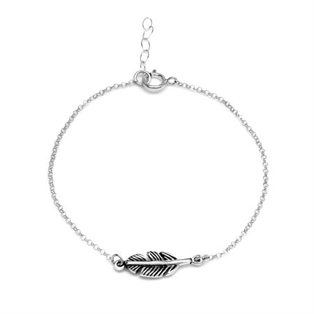 Petite Guardian Angel Protective Feather Charm 925 Sterling Silver Bracelet