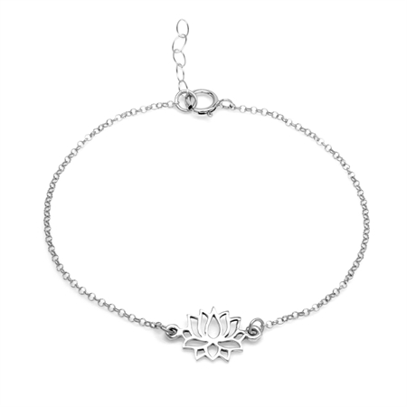 Petite Sacred Lotus Flower Beauty Charm 925 Sterling Silver Girls Purity Bracelet