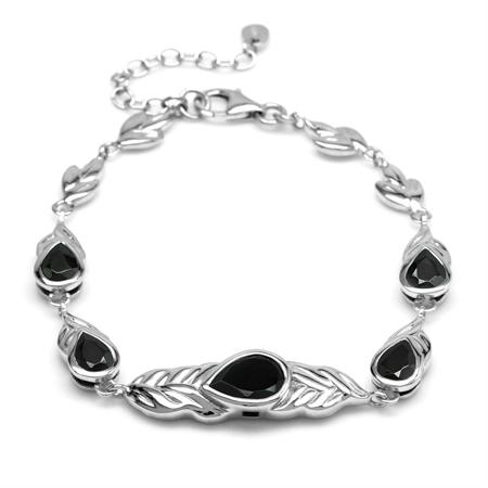 Natural Black Onyx Stone 925 Sterling Silver Graduate Leaf Link Bracelet