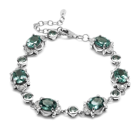 Created 14.9 Ctw Color Change Alexandrite Victorian Inspired 925 Sterling Silver Adj. Bracelet
