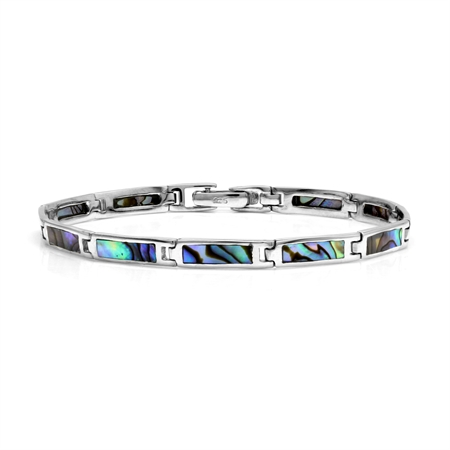 Rectangular Shape Abalone/Paua Shell Inlay 925 Sterling Silver Link Bracelet 7.5 Inch