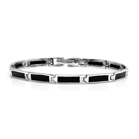 Rectangular Shape Created Black Onyx Inlay 925 Sterling Silver Link Bracelet 7.5 Inch