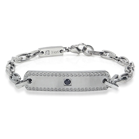 Women's Black&White CZ Stainless Steel Link Tennis Bracelet by Inori