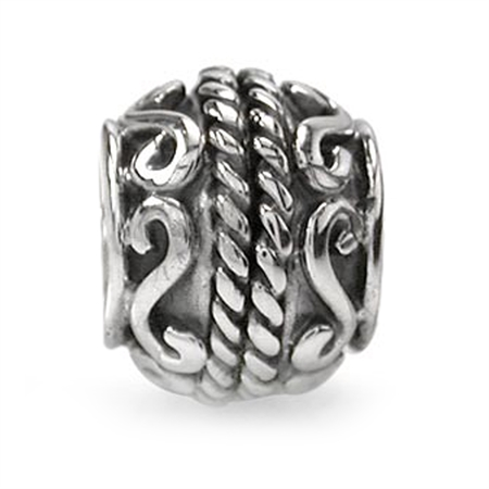 925 Sterling Silver Victorian Rope Threaded European Charm Bead