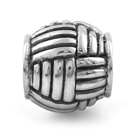 925 Sterling Silver Weave Pattern Threaded European Charm Bead