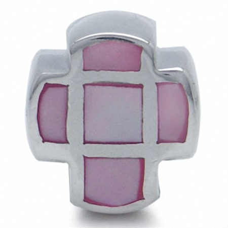 Pink Mother Of Pearl 925 Sterling Silver Cross Threaded European Bead