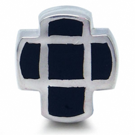 Onyx CROSS 925 Sterling Silver Threaded European Bead