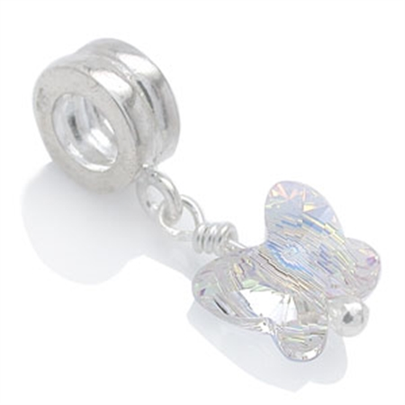 Butterfly Shape Aurore Boreale Crystal 925 Sterling Silver Dangle Threaded European Charm Bead