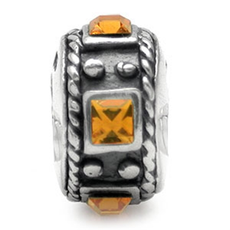 Yellow Topaz Crystal 925 Sterling Silver Threaded European Charm Bead