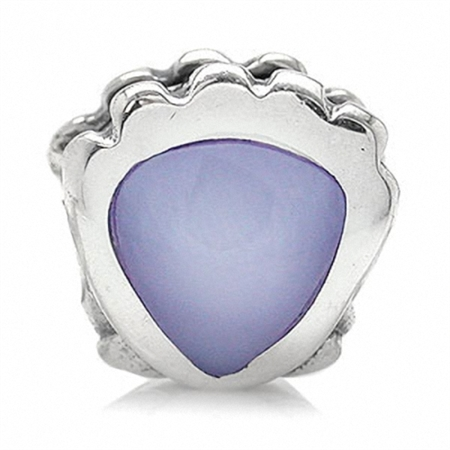 Purple Mother of Pearl 925 Sterling Silver Sea Shell Threaded European Charm Bead
