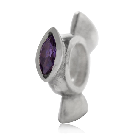 Amethyst Purple CZ 925 Sterling Silver Spinning Wheel Threaded European Charm Bead