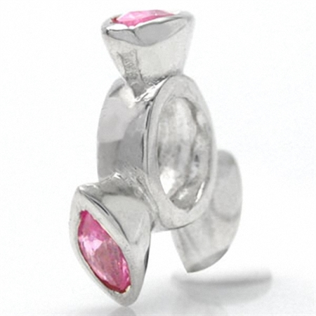 Pink CZ 925 Sterling Silver Spinning Wheel Threaded European Charm Bead