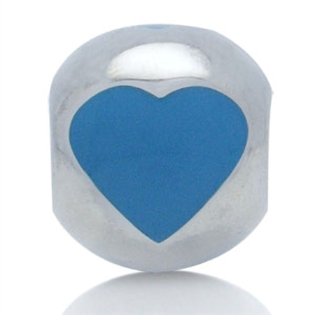 AUTH Nagara Blue Enamel 925 Sterling Silver HEART Threaded European Bead