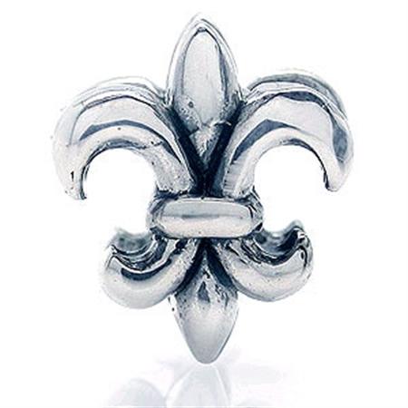 925 Sterling Silver FLEUR DE LIS Threaded European Charm Bead