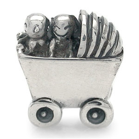 Nagara 925 Sterling Silver TWINS IN BABY CART European Bead