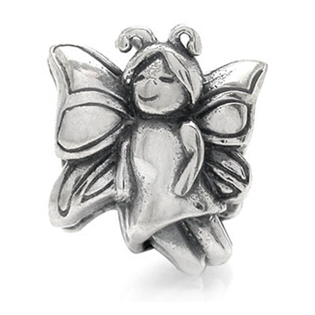 25 Sterling Silver BUTTERFLY ANGEL Threaded European Charm Bead
