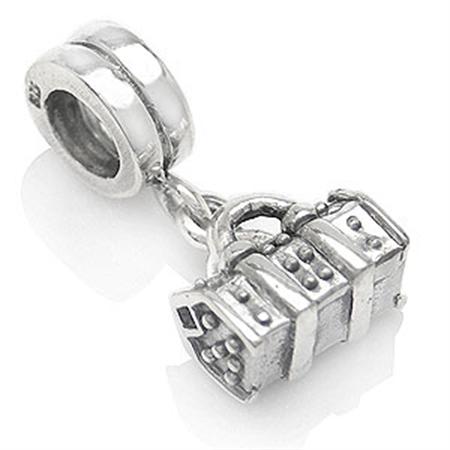 AUTH Nagara TREASURE BAG Silver Threaded European Charm Bead