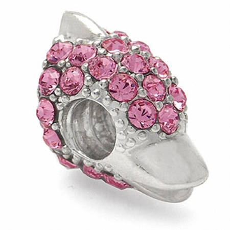 Light Rose Pink Crystal 925 Sterling Silver Dolphin Threaded European Charm Bead