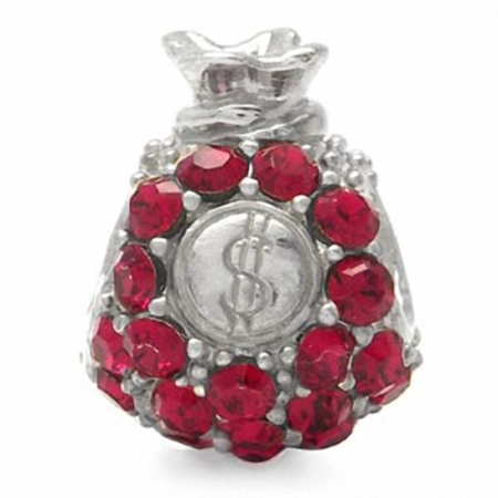 Ruby Red Crystal 925 Sterling Silver $ Money Bag Threaded European Charm Bead