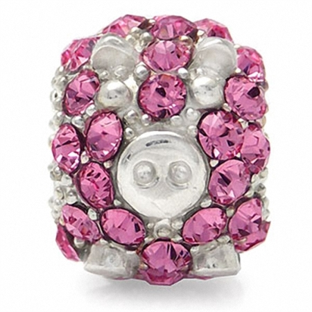 Rose Pink Crystal 925 Sterling Silver PIG Threaded European Charm Bead