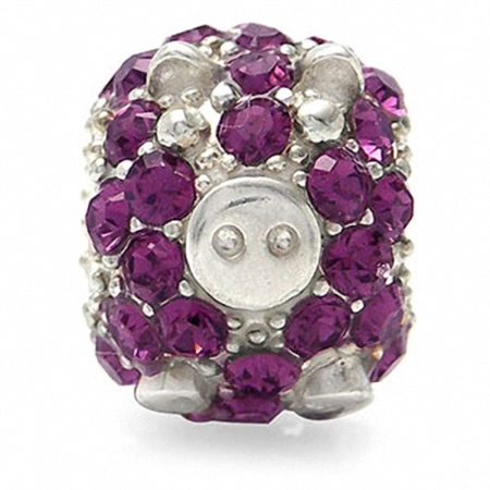 Amethyst Purple Crystal 925 Sterling Silver PIG Threaded European Charm Bead